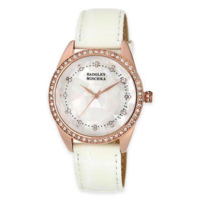 Badgley Mischka® 20mm Swarovski Rose Goldtone Mother of Pearl Watch with White Leather Strap