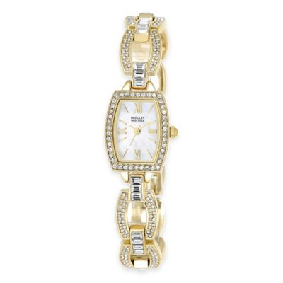Badgley Mischka® 12mm Swarovski-Accented Goldtone Mother of Pearl Dial Open Link Bracelet Watch