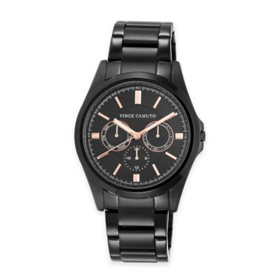 Vince Camuto The Berwick Men's 42mm Multifunction Watch in Black Stainless Steel