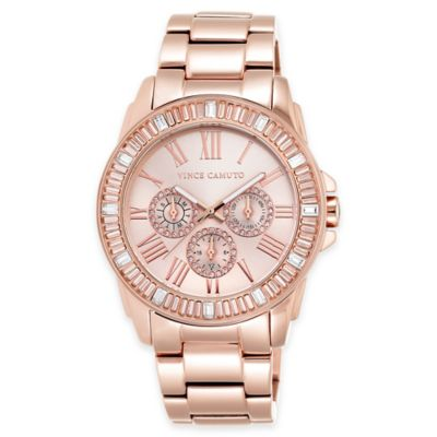 Vince Camuto Ladies' 43mm Swarovski® Crystal-Accented Watch in Rose Goldtone Stainless Steel