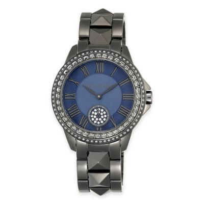 Silver Blue Crystal-Accented Watch