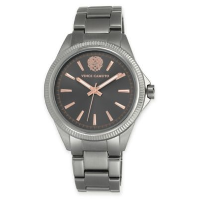 Vince Camuto Ladies' 41mm Coin Edge Bezel Bracelet Watch in Grey Stainless Steel