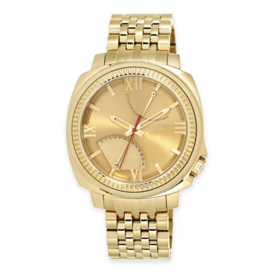 Vince Camuto The Veteran Men's 43.5mm Multifunction Dial Watch in Goldtone Stainless Steel