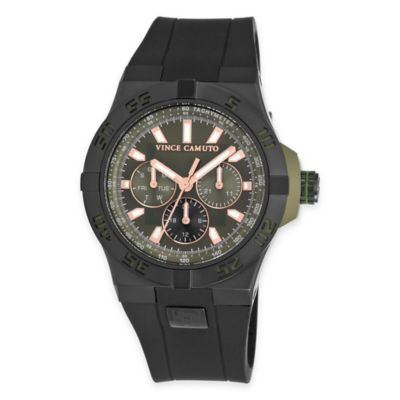 "Vince Camuto® Men's ""The Master"" in Black Stainless Steel with Black Silicone Band"