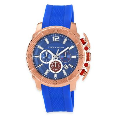 Vince Camuto The Striker Men's 45.5mm Chronograph Watch in Stainless Steel with Blue Silicone Strap