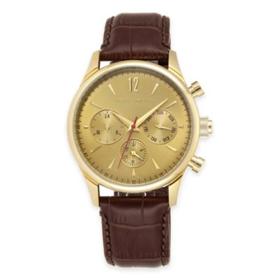 Vince Camuto The Chairman Men's Multifunction Watch in Stainless Steel with Brown Leather Strap