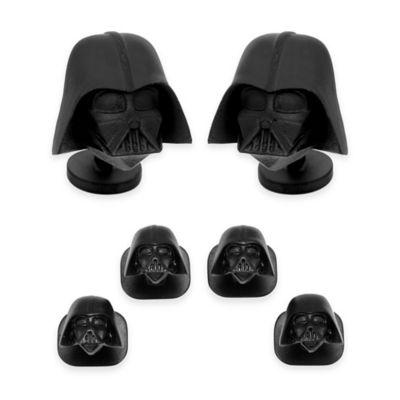 Star Wars™ Black Plated 3D Matte Dark Vader Tuxedo Studs and Cufflinks Set