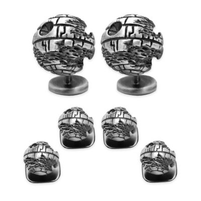 Star Wars™ Silver-Plated 3D Death Star Tuxedo Studs and Cufflinks Set