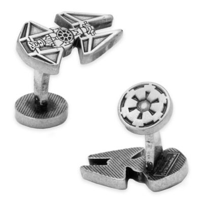 Star Wars™ Silver-Plated TIE Interceptor Etched Cufflinks