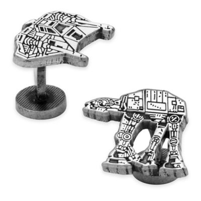 Star Wars™ Antique-Plated Snowspeeder and AT-At Walker Battle of Hoth Cufflinks