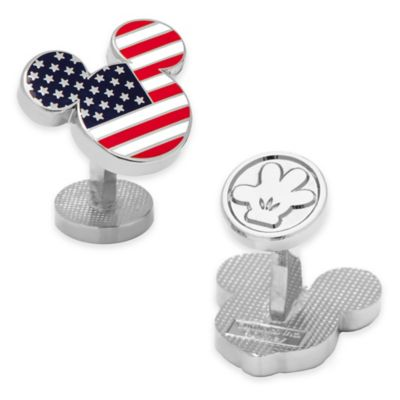 Disney® Silver-Plated and Enamel Mickey Mouse Stars and Stripes Cufflinks