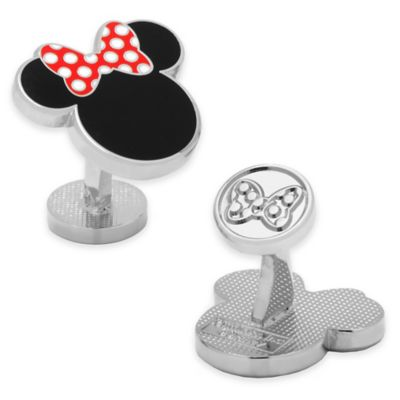 Disney® Silver-Plated and Enamel Minnie Mouse Silhouette Cufflinks