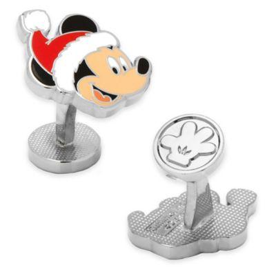 Disney® Silver-Plated and Enamel Santa Mickey Mouse Cufflinks