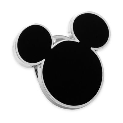Disney® Silver-Plated and Enamel Mickey Mouse Lapel Pin in Black