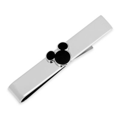 Disney® Silver-Plated and Enamel Mickey Mouse Tie Bar in Black