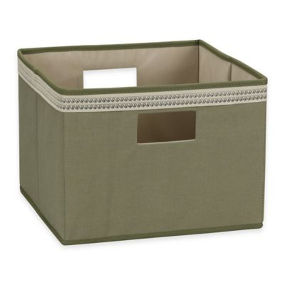 Household Essentials® Medium Open Storage Bin with Decorative Wave Trim in Olive
