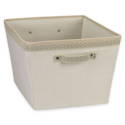Household Essentials® Medium Tapered Storage Bin with Decorative Link Trim in Ivory