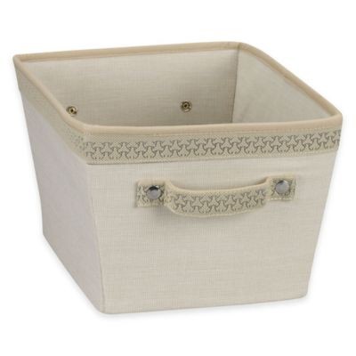 Household Essentials® Small Tapered Storage Bin with Decorative Link Trim in Ivory