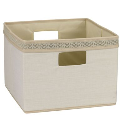Household Essentials® Medium Open Storage Bin with Decorative Link Trim in Ivory