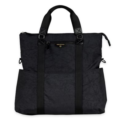 TWELVElittle Unisex 3-in-1 Foldover Tote Diaper Bag in Black