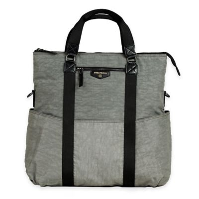 TWELVElittle Unisex 3-in-1 Foldover Tote Diaper Bag in Grey
