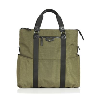 TWELVElittle Unisex 3-in-1 Foldover Tote Diaper Bag in Olive