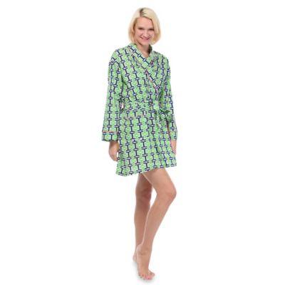 Penny Medium Robe in Navy/Green
