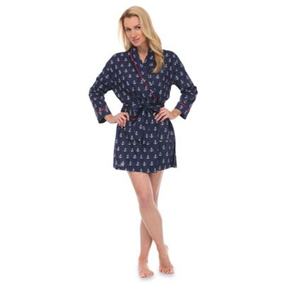 Small Anchors Robe in Navy