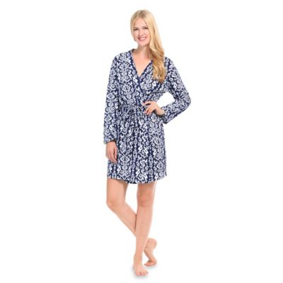 Small Ikat Jersey Knit Robe in Navy