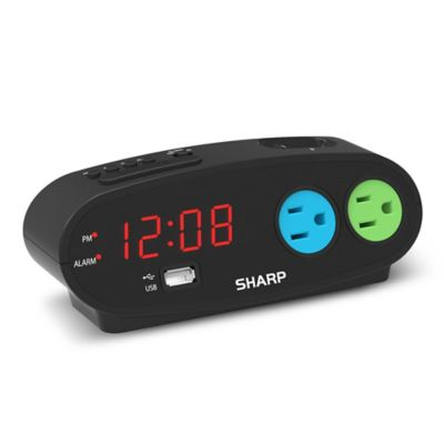 Sharp Digital Alarm Clock with 2 Outlets and 1 USB Port