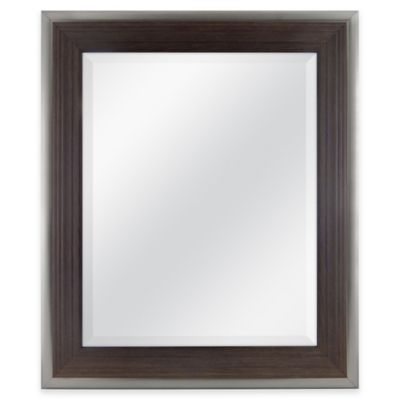 Mason 21-Inch x 25-Inch Rectangular Wood Grain Mirror in Walnut with Silver Accent