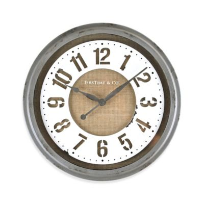 FirsTime® Farmhouse Stencil Wall Clock in Grey/White