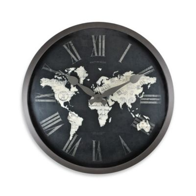 FirsTime® World Map Wall Clock in Black/Gold