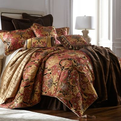 Austin Horn Classics Ashley California King Comforter Set in Coral/Gold