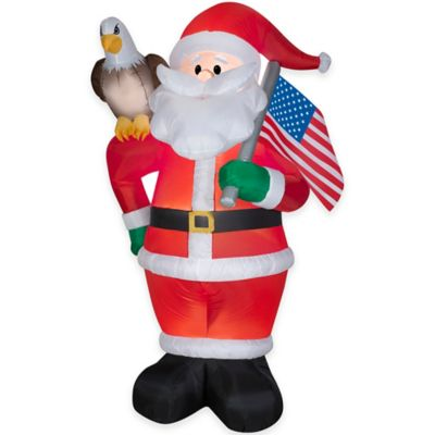 7-Foot Inflatable Outdoor All American Santa Holiday Lawn Ornament
