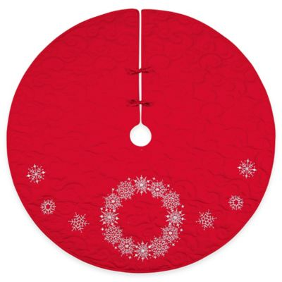 54-Inch Cotton Snowflake Wreath Tree Skirt