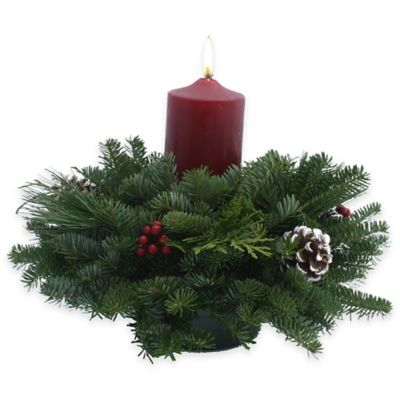 14-Inch Fresh Maine Balsam Pillar Candle Centerpiece
