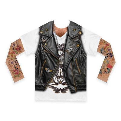 Faux Real Size 2T Photorealistic Biker Boy Long Mesh Sleeve T-Shirt