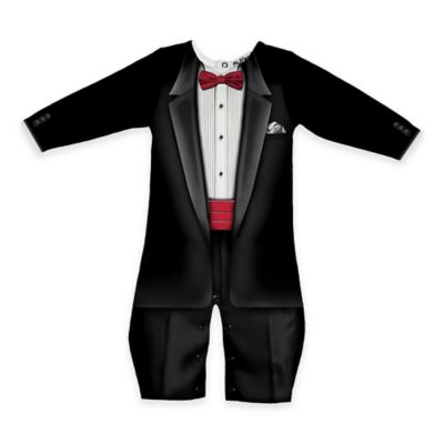 Faux Real Size 6M Photorealistic Bow Tie Tuxedo Long Sleeve Romper