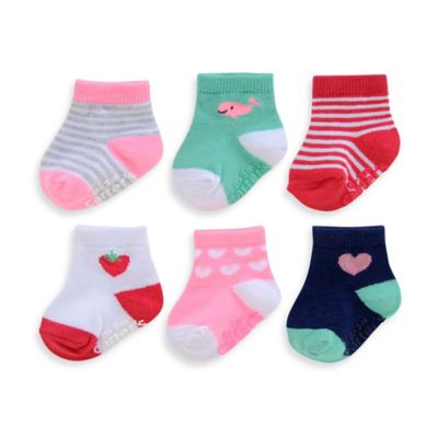 carter's® Size 12-24M 6-Pack Hearts and Stripes Computer Socks