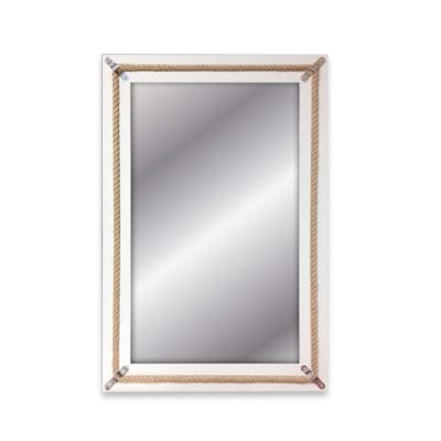 Elsa L 20-Inch x 30-Inch Rectangular Rope Inlay Wall Mirror in White