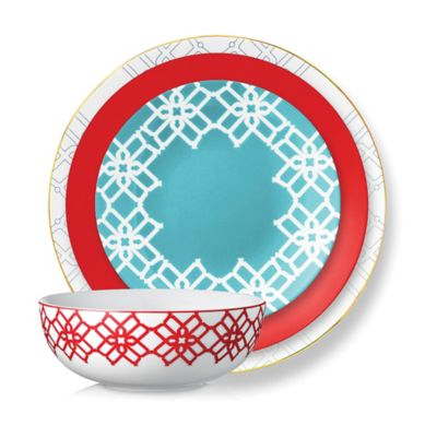 B by Brandie™ French Riviera 4-Piece Place Setting in Red/Turquoise