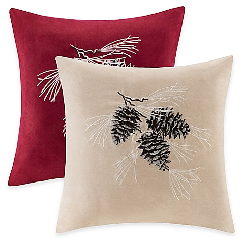Buy Madison Park Pine Cone Square Throw Pillow In Red