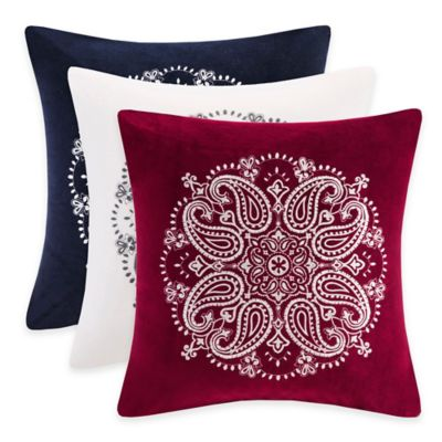 Madison Park Cotton Velvet Medallion Square Throw Pillow in Red