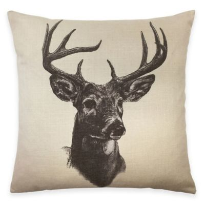 HiEnd Accents Whitetail Deer Linen Print Square Throw Pillow in Natural