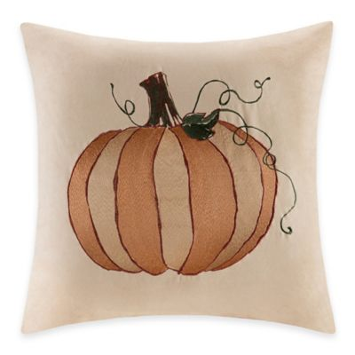 Madison Park Pumpkin Embroidered Square Throw Pillow