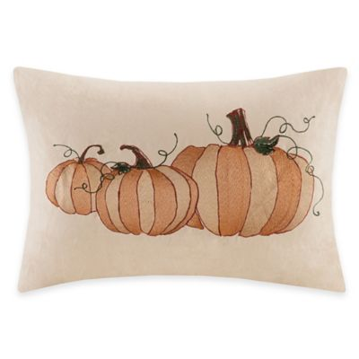 Madison Park Pumpkin Embroidered Oblong Throw Pillow