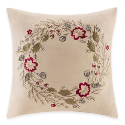 Madison Park Wreath Embroidered Square Throw Pillow