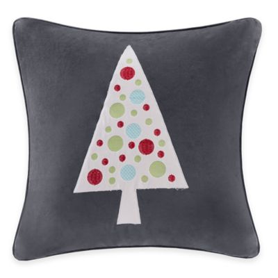 Madison Park Novelty Tree Velvet Square Throw Pillow