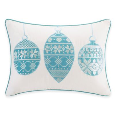 Madison Park Ornament Velvet Oblong Throw Pillow in Ivory/Aqua